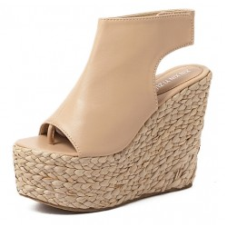 Khaki Peeptoe Braided Straw Knitted Slingback Platforms Wedges Sandals Shoes