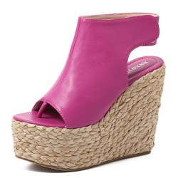 Pink Fushia Peeptoe Braided Straw Knitted Slingback Platforms Wedges Sandals Shoes