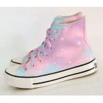 Pink Purple Pastel Color Galaxy Universe High Top Lace Up Sneakers Boots Shoes