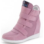 Pink Suede Velcro Platforms Sole High Top Hidden Wedges Womens Sneakers Loafers Shoes