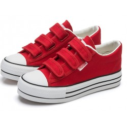 Red Canvas Platforms Velcro Casual Sneakers Flats Loafers Shoes