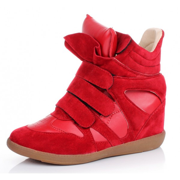 Red High Top Velcro Tapes Hidden Wedges Sneakers Shoes