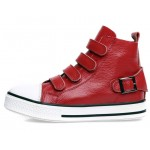 Red Velcro Platforms Sole High Top Womens Sneakers Loafers Flats Shoes