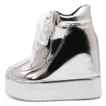Silver Metallic Shiny Mirror Platforms Lace Up High Top Wedges Sneakers Shoes