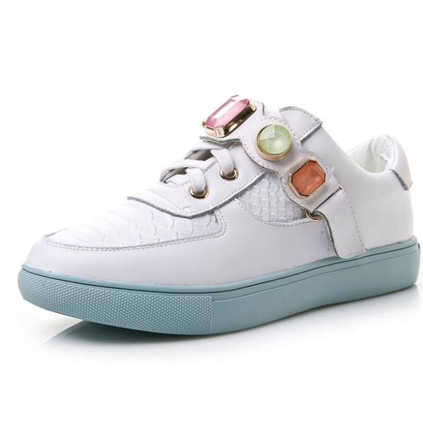 White Blue Colorful Gemstones Platforms Sole Womens Sneakers Loafers Flats Shoes
