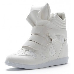 White High Top Velcro Tapes Hidden Wedges Sneakers Shoes