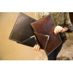 Brown Metal V Vintage Leather Punk Rock Oversized Envelope Clutch Bag Purse