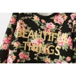 Black Vintage Roses Flowers Floral Beautiful Things Long Sleeve Sweatshirts Tops