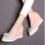 Pink Blue Pastel Bow Point Head Platforms Wedges Ballerina Ballet Flats Shoes