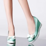 Green Mint Pastel Bow Point Head Platforms Wedges Ballerina Ballet Flats Shoes