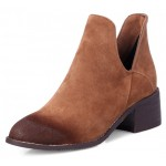 Brown Suede Vintage Grunge Point Head Ankle Chelsea Boots Shoes