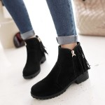 Black Suede Back Fringes Punk Rock Ankle Chelsea Boots Shoes