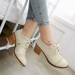 Cream White Vintage Lace Up High Heels Women Oxfords Shoes