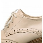 Cream Beige Old School Vintage Lace Up High Heels Women Oxfords Shoes