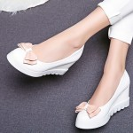 White Pink Pastel Bow Point Head Platforms Wedges Ballerina Ballet Flats Shoes