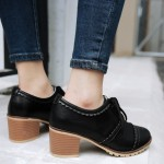 Black Vintage Lace Up High Heels Women Oxfords Shoes