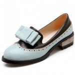 Blue Vintage Pastel Bow Womens Dress Loafers Flats Shoes