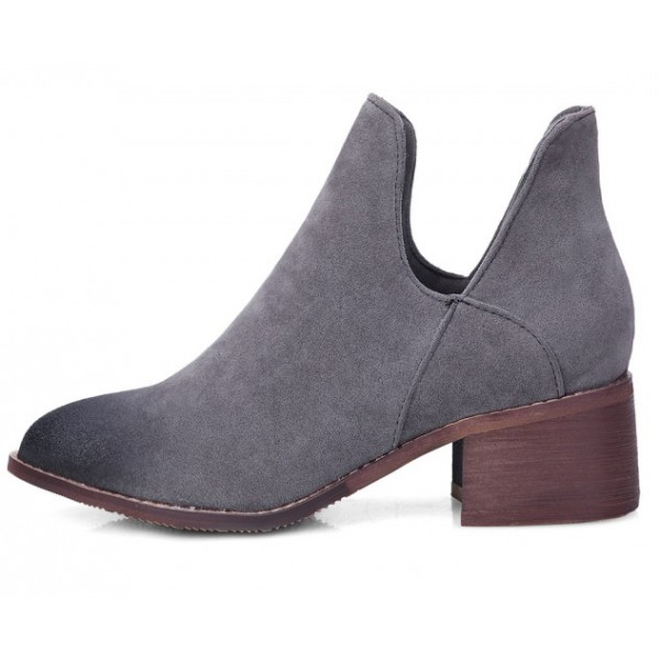 Grey Suede Vintage Grunge Point Head Ankle Chelsea Boots Shoes