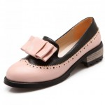 White Black Vintage Pastel Bow Womens Dress Loafers Flats Shoes