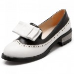 White Vintage Pastel Bow Womens Dress Loafers Flats Shoes