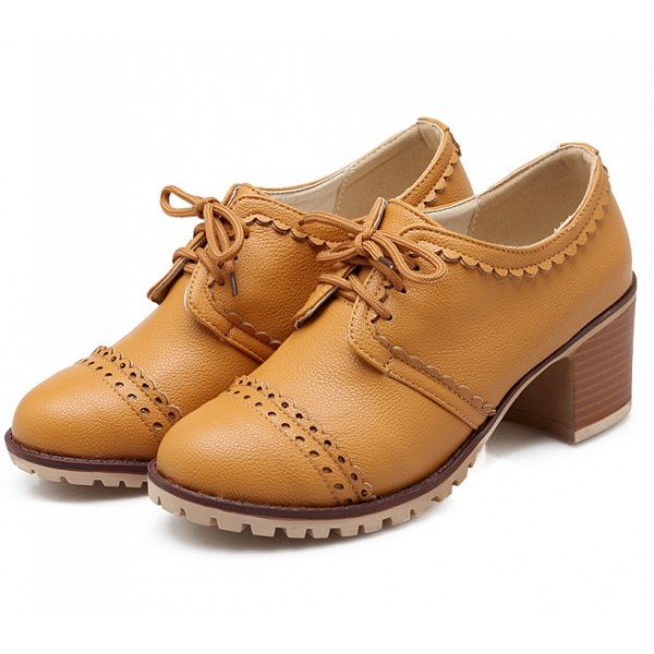 Yellow Vintage Lace Up  High Heels Women Oxfords Shoes