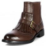 Brown Vintage Fringes Old School Ankle Chelsea Boots Shoes