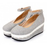 Grey Platforms Wedges Mary Jane Lolita Flats Shoes