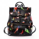 Black Blue White Colorful Songing Singing Birds Backpack