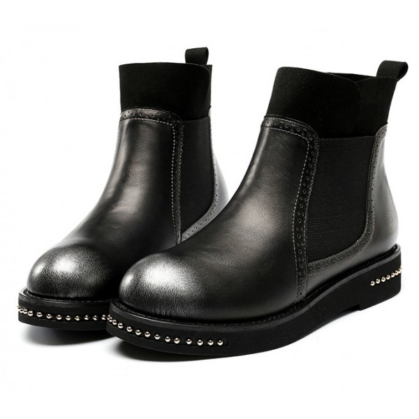 Black Metal Beads Old School Ankle Chelsea Boots Shoes