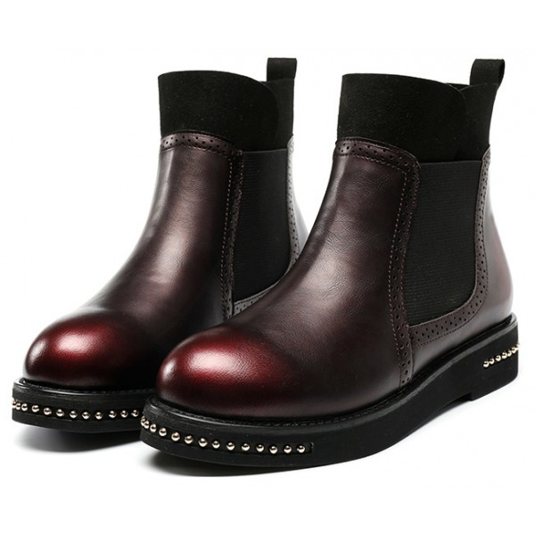 Burgundy Metal Beads Old School Ankle Chelsea Boots Shoes