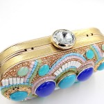 Blue Black Silver Jewels Bohemian Enthic Boho Evening Clutch Bag Purse Jewelry Box