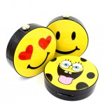 Yellow Happy Face Heart Emoji Harajuku Round Arcylic Evening Clutch Bag Purse Jewelry Box