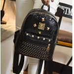 Black Patent Gold Metal Studs Punk Rock Mini Backpack Bag
