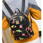Black Colorful Songing Birds Mini Backpack Bag