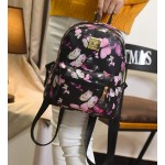 Black Purple Butterfly Flowers Mini Backpack Bag