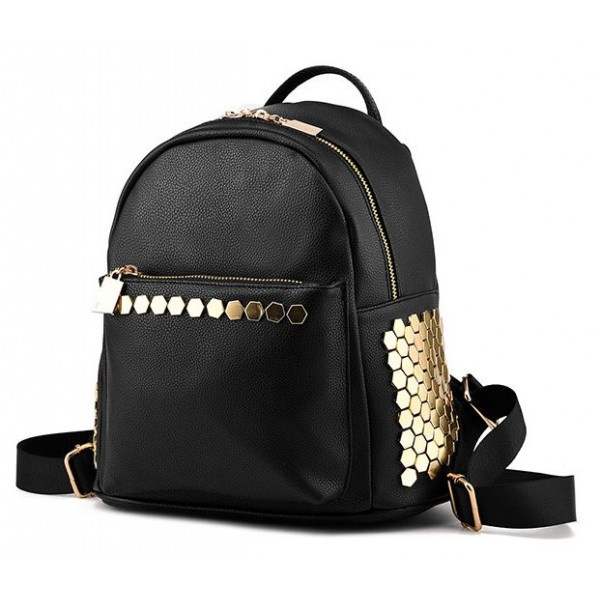 Black Hexagonal Gold Studs Vintage School Punk Rock Funky Bag Backpack