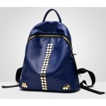 Blue Black Red Hexagonal Studs Vintage School Funky Bag Backpack