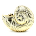 Gold Silver Swirl Seashells Shells Arcylic Evening Clutch Bag Purse Jewelry Box