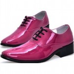 Pink Fushia Patent Leather Point Head Lace Up Mens Oxfords Dress Shoes