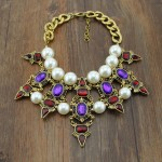 Purple Crystals White Pearls Tribal Bohemian Ethnic Necklace Choker