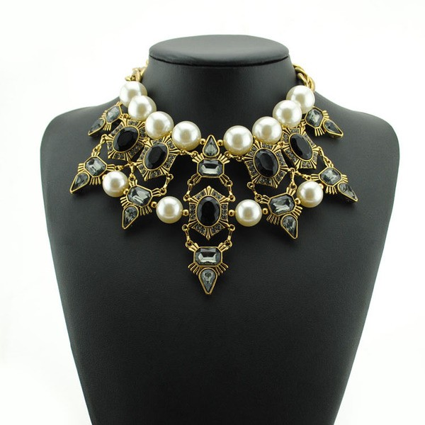 Black Crystals White Pearls Tribal Bohemian Ethnic Necklace Choker