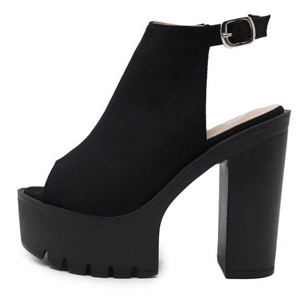 Black Punk Rock Gothic Peep Toe Sling Back Block High Heels Platforms Sandals Shoes