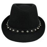 Black Spikes Punk Rock Woolen Funky Gothic Jazz Dance Dress Bowler Hat