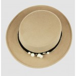 Khaki Woolen Pearls Classic Jazz Dance Dress Bowler Hat