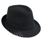 Black White Stripes Woolen Funky Gothic Jazz Dance Dress Bowler Hat