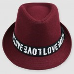 Burgundy Love Woolen Funky Gothic Jazz Dance Dress Bowler Hat
