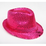 Pink Fushia Sequins Bling Bling Party Funky Gothic Jazz Dance Dress Bowler Hat