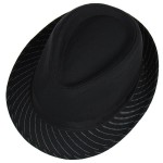 Black White Stripes Woolen Funky Rock Gothic Jazz Dance Dress Bowler Hat