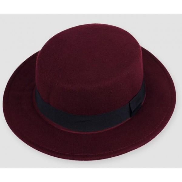Burgundy Woolen Black Satin Bow Classic MJ Jazz Dance Dress Bowler Hat