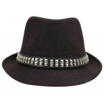 Brown Square Studs Punk Rock Woolen Funky Gothic Jazz Dance Dress Bowler Hat